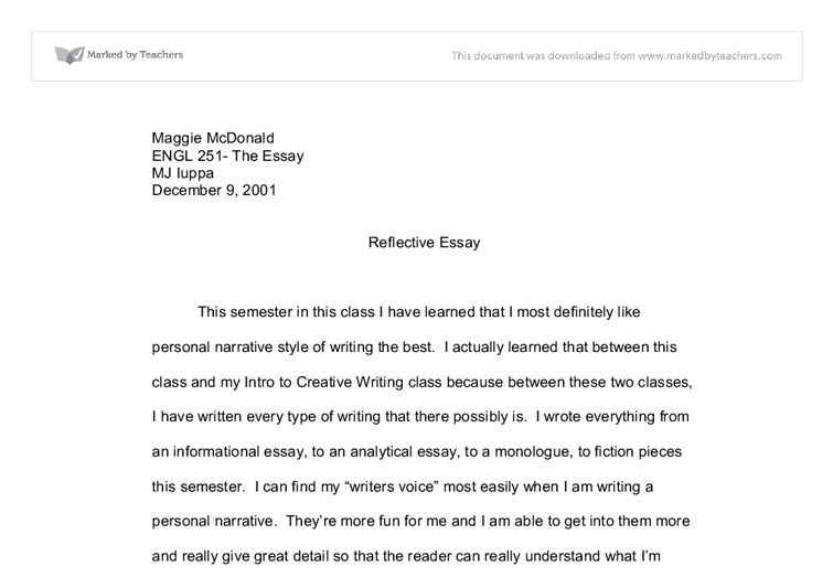 Reflective essay how to write