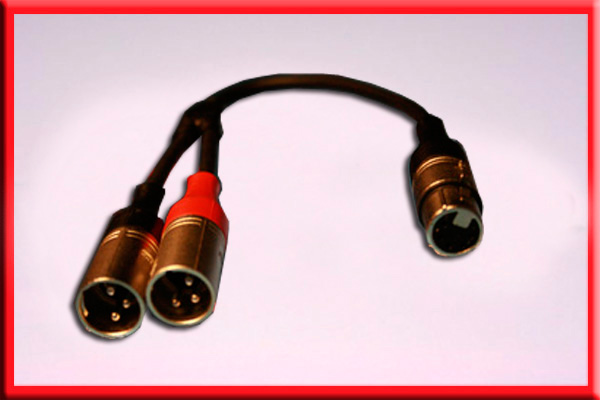 5 Pin ProAudio 523b 5-Pin XLR Female to Dual 3-Pin Male Y-XLR
