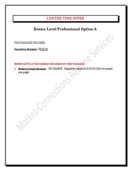 Senior Executive Resumes - Free Visual Resume