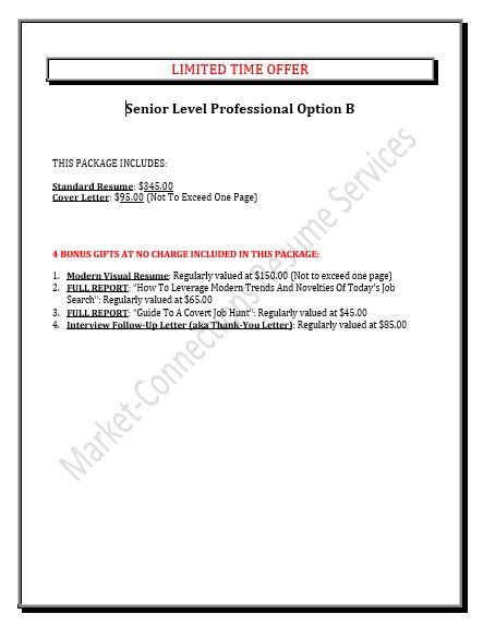 Senior Level Executive Resumes - Professional Resume Writing