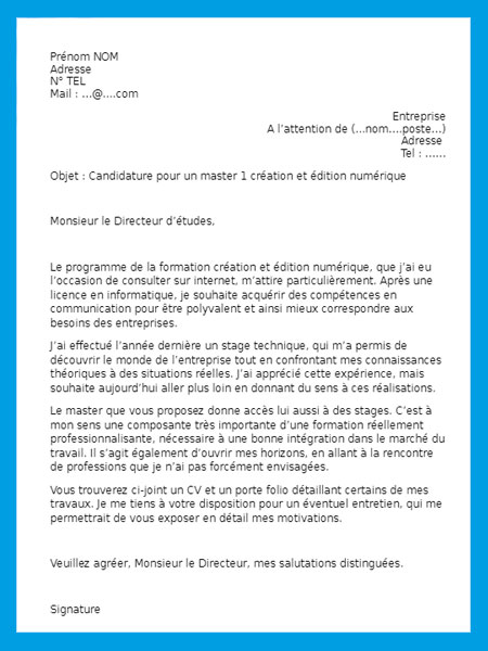 finir cv et lettre de motivation