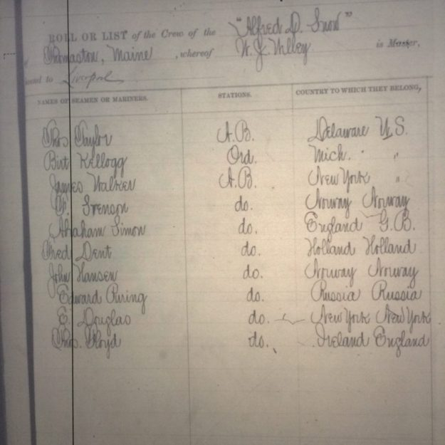 Crew list from 'Alfred D. Snow' at U.S. consulate office in Cork, 1888.