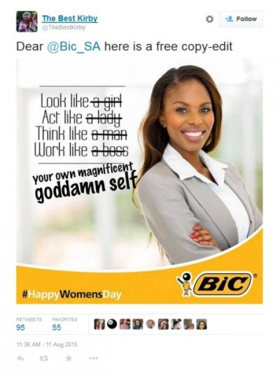 TheBestKirby free copy-edit of Bic_SA Women's Day ad