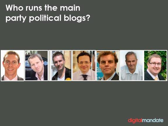 Political bloggers in the UK: Will Straw, Alex Smith, Stephen Tall, Mark Pack, Tim Montgomerie, Iain Dale and Jonathan Isaby