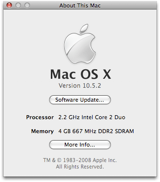 Mac with 4GB RAM installed
