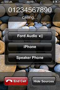 Call on iPhone placed using Ford Bluetooth Voice Control