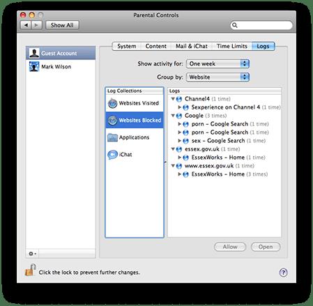 Parental Controls logging activity on Mac OS X 10.5