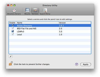Mac OS X 10.5 Directory Utility - Services