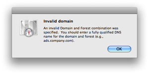 Mac OS X 10.5 Directory Utility - Invalid Domain error message
