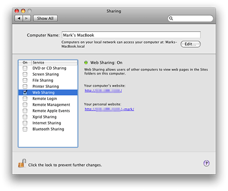 Web Sharing in OS X