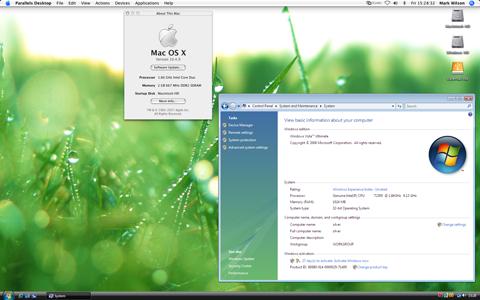 Parallels Desktop for Mac presenting Windows Vista applications alongside native Mac OS X Tiger applications