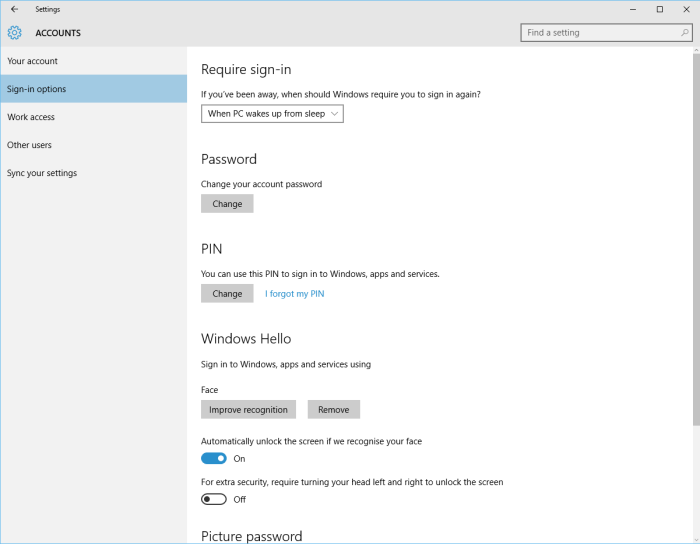 Windows 10 sign-in options, including Windows Hello
