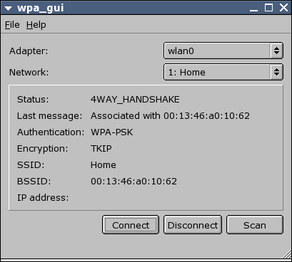 wpa_gui scanning for networks