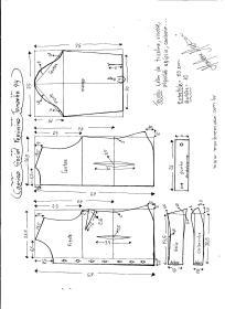 Esquema de modelagem de Camisa Social Feminina tamanho 44.