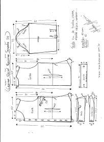 Esquema de modelagem de Camisa Social Feminina tamanho 54.