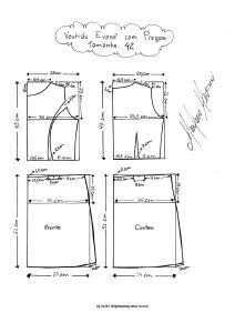 Molde de Vestido Evasê com Pregas tamanho 42.