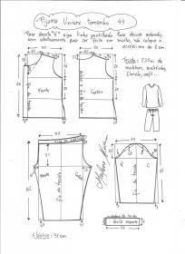 Esquema de modelagem de pijama unisex tamanho 44.