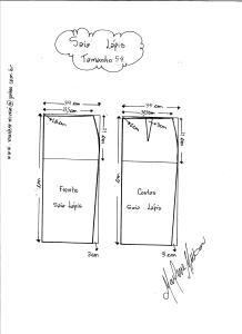 Esquema de Modelagem de Saia Lápiis tamanho 54.