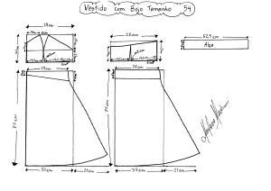 Molde do Vestido com Bojo tamanho 54.