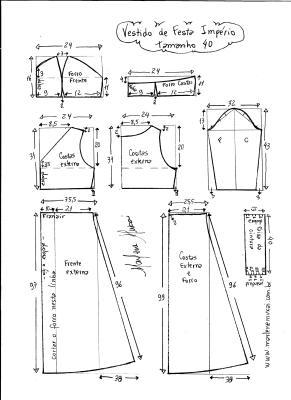 Esquema de modelagem de vestido de festa  império tamanho 40.