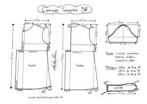Esquema de modelagem de Camisão tamanho 38.