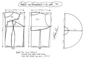 Esquema de modelagem de vestido com transparência godê tamanho 40