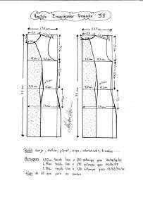 Esquema de modelagem de vestido tubinho que afina a silhueta tamanho 38.