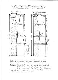 Esquema de modelagem de vestido tubinho que afina a silhueta tamanho 46.