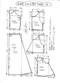 Esquema de modelagem de Vestido Longo com alça e babado tamanho 48.