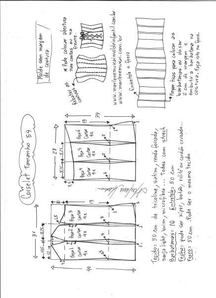 .Esquema de modelagem de corselet  tamanho 54.