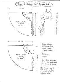 Esquema de modelagem de Rega de Alcinha Godê tamanho GG.