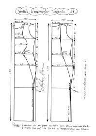 Esquema de Modelagem de Vestido que afina a Silhueta 2 tamanho 54.
