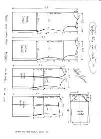 Esquema de modelagem de Vestido Tubinho com Renda e manga 3/4 tamanho 56.