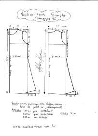 Esquema de modelagem de Vestido Regata Simples tamanho 42.