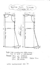 Esquema de modelagem de Vestido Regata Simples tamanho 52.