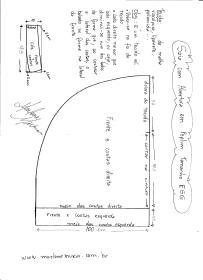 Esquema de modelagem de Saia com Abertura circular tamanho EGG.