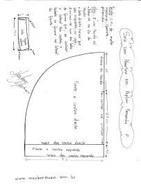 Esquema de modelagem de Saia com Abertura circular tamanho P.