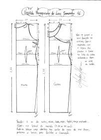 Esquema de modelagem do Vestido Bonequinha de Luxo tamanho 46.