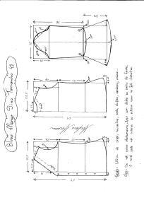 Esquema de modelagem de Blusa com Manga Sino tamanho 48.