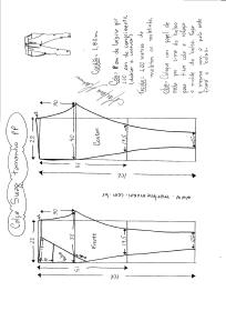 Esquema de modelagem de calça Swag tamanho PP.