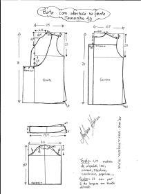 Esquema de modelagem de bata com manga 3/4 tamanho 40.