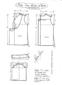 Esquema de modelagem de bata com manga 3/4 tamanho 56.