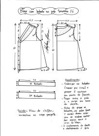 Esquema de modelagem de blusa com pala e babado tamanho 36.