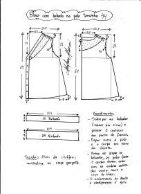 Esquema de modelagem de blusa com pala e babado tamanho 44.