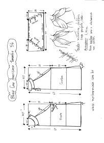 Esquema de modelagem de Blusa com cava americana e drapeado solto tamanho 56.