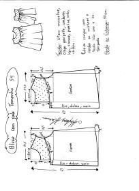 Esquema de modelagem de blusa com pala e renda tamanho 54.