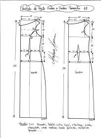 Esquema de modelagem de vestido de festa ombro a ombro tamanho 48.