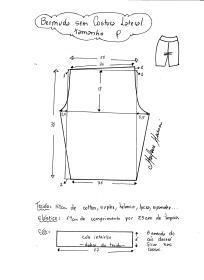 Esquema de modelagem de bermuda em malha sem costura lateral tamanho P.