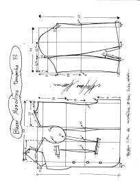 Esquema de modelagem de Blazer ou Paletó masculino tamanho 52.