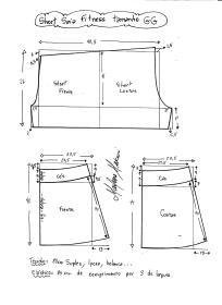 Esquema de modelagem de short saia fitness tamanho GG.